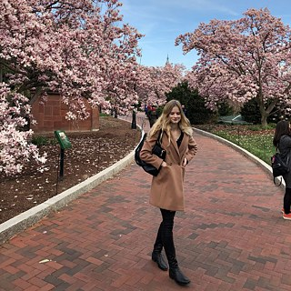 Lara with Magnolia blooms