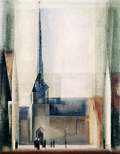 "The painting ""Gelmeroda IX"" by Bauhaus Master Lyonel Feininger depicts the village church in Gelmeroda in the Weimar countryside."
