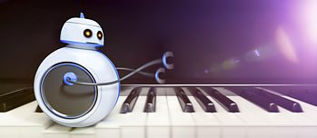 Robot on piano keyboard