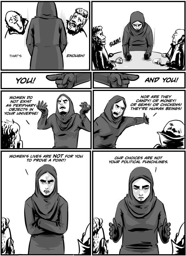 webcomic Qahera, about a female visibly Muslim superhero that addresses social issues