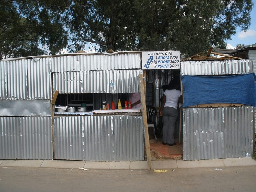 An informal stall from where food and houses are sold in Diepsloot, a post-Apartheid settlement with 75% informal households.
