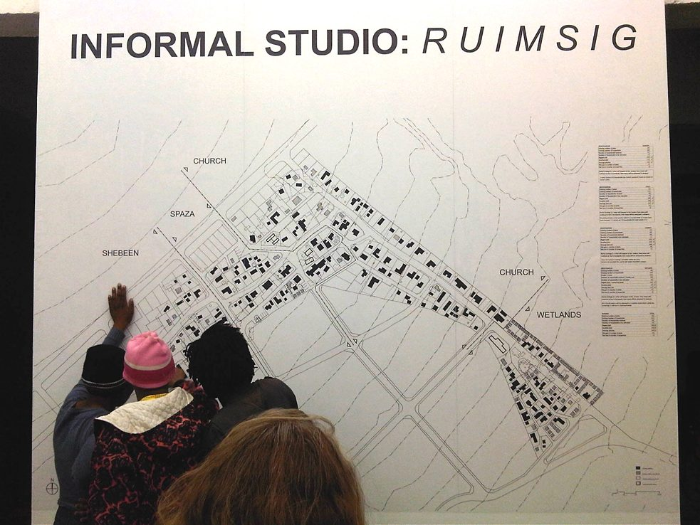 Re-blocking map for Ruimsig showing remaining structures (in solid black) and re-located structures (grey).
