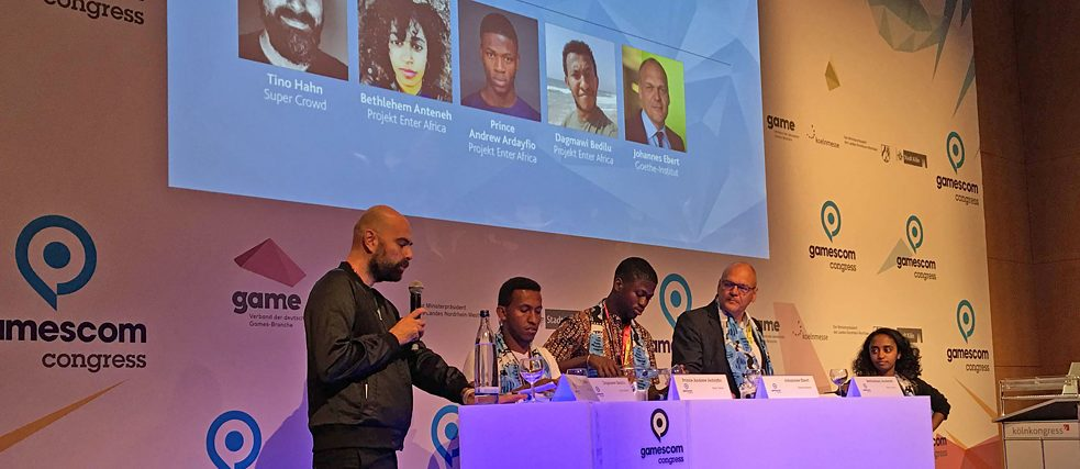 Enter Africa at the gamescom congress. The discussion panel included Johannes Ebert, secretary-general of the Goethe-Institut, Bethlehem Anteneh (Enter Africa Addis Ababa), Dagmawi Bedilu (Enter Africa Addis Ababa) and Prince Andrew Ardayfio (Enter Africa Accra) and moderator Tino Hahn