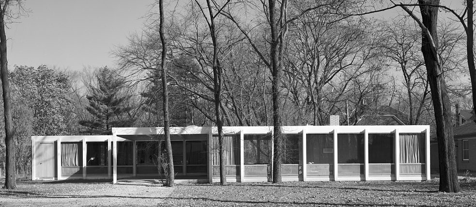 Ludwig Mies van der Rohe, McCormick house view of front exterior, 1950s