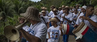 "Music festival ""Carnaval de gongo de Roda D'Agua"" in the north of Brazil, which originated 100 years ago in the culture of slaves."