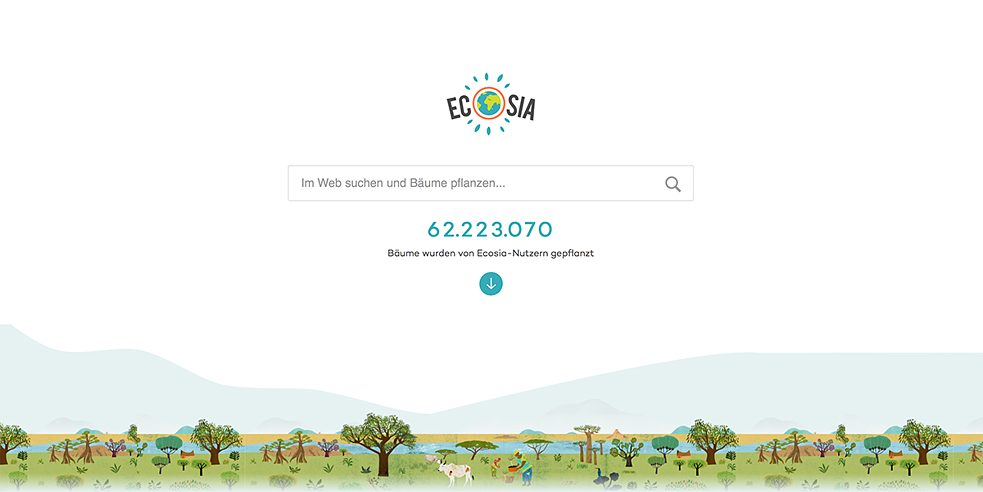 <b>The search engine that plants trees </b><br>Ecosia is a carbon-positive search engine. Established in Berlin, the company uses the profits it makes from advertising and partner programmes to plant trees. According to its own figures, a new tree is planted for every 45 searches. Since 2009, this has resulted in the planting of nearly 60 million trees, mainly in South and Central America, Africa and Southeast Asia.  Ecosia is now also available as an add on for Firefox and Chrome.