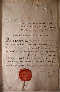A slave certificate on display at the Slave Lodge Museum in Cape Town – part of the Iziko Museums of South Africa, July 12, 2019