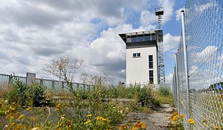 A watchtower where GDR guards once surveyed the border is now in the middle of the Green Belt in Marienborn. The border crossing point was the largest and most important checkpoint on the German-German border and was mainly used for transit traffic to West Berlin.