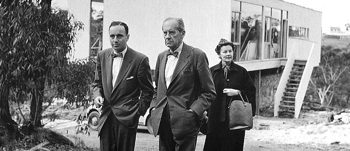Harry Seidler with Walter & Ise Gropius in front of Seidler's design Julian Rose House, May 1954 | Photo by Max Dupain, first printed by Jill White 2003