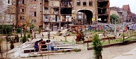 In front of the Tacheles in Berlin, in the 90s