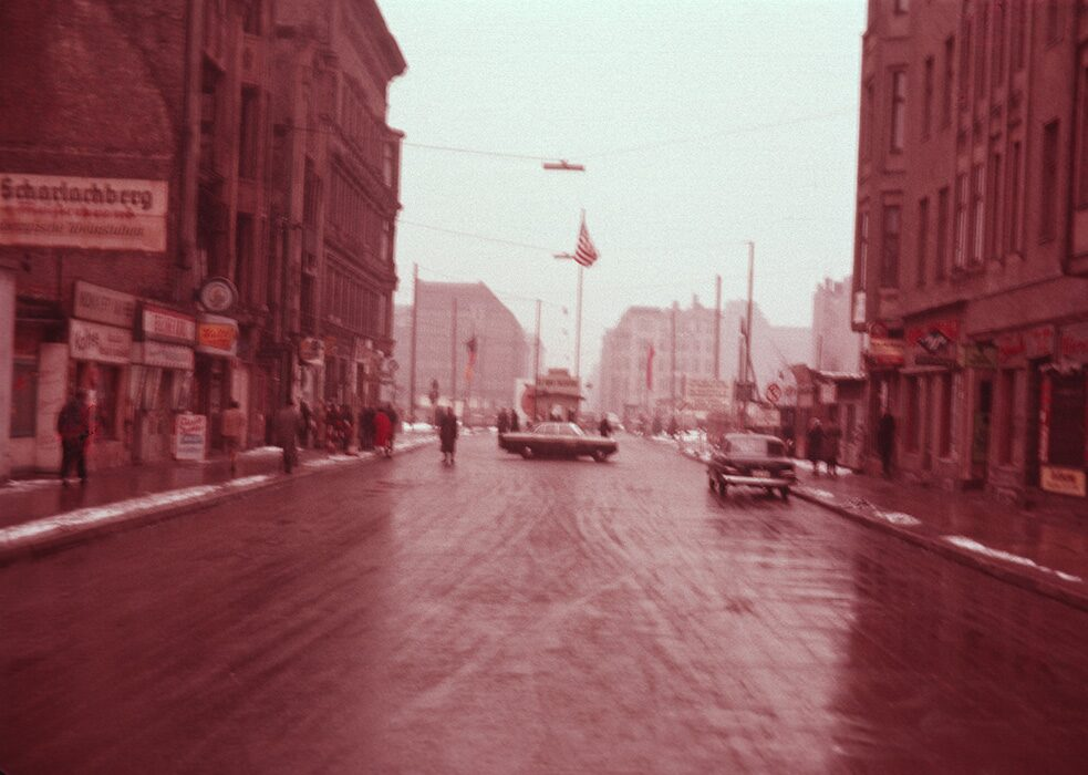 Approaching a checkpoint of the Berlin Wall (1961-62)