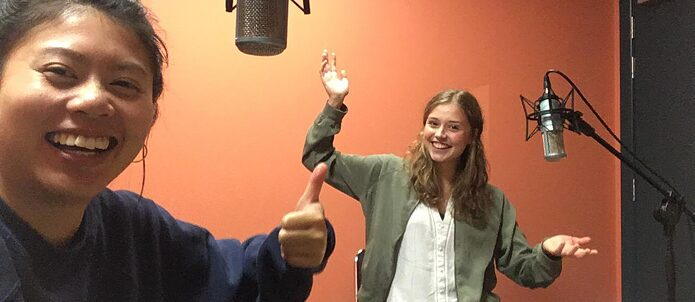 Manja and Ricarda in the record studio