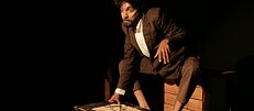 Pune-based theatre director Zameer Badrunnisa in The Metamorphosis in original German performed in Pune in July this year