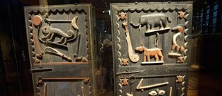 Historical doors from an African royal palace in the Quai Branly Museum in Paris - one of the objects to be restituted