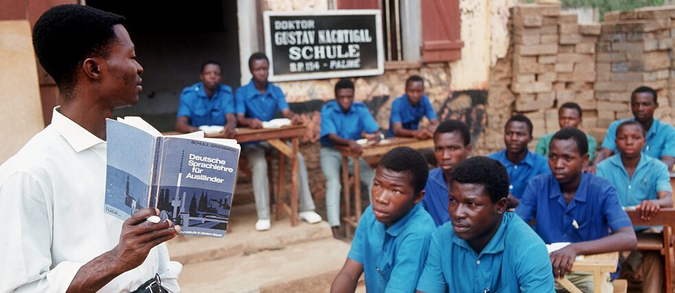 Young Togolese learn the German language at the school in Palime (Togo), named after the German Africa researcher Dr. Gustav Nachtigal