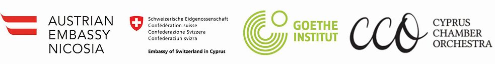 Logos of the organizers: Austrian Embassy, Swiss Embassy, Goethe-Institut, Cyprus Chamber Orchestra