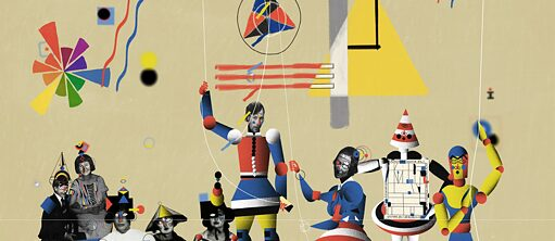 A collage of colours, geometrical figures, and cropped out portraits of the most prominent students of the Bauhaus