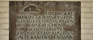 Memorial plaque for the fallen of the German Schutztruppe in the courtyard of the Alte Feste, Windhoek, Namibia