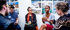 Monument Lab Fellow Kanyinsola Anifowoshe leading a discussion at Monument Lab's Town Hall