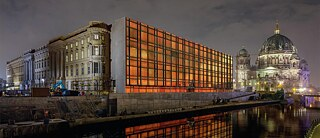 A light projection recreating the Palast der Republik in Berlin