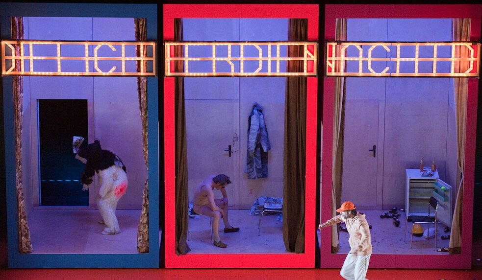 "Rehearsing in Leipzig's Central Theatre in 2010: a scene from ""The Night, the Lights"", a love story set in the cold neon light of a big-box store."