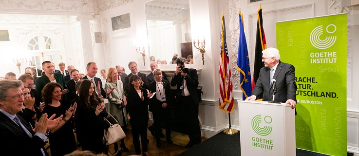 President Frank-Walter Steinmeier speaking at the Reopening of the Goethe-Institut Boston.