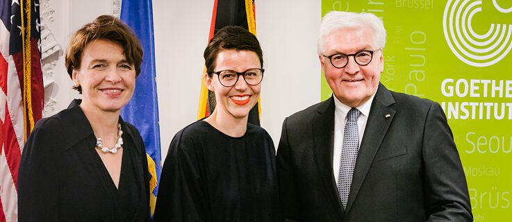 (left to right): Elke Büdenbender (Wife of Frank-Walter Steinmeier), Marina May (Director of the Goethe-Institut Boston) and Frank-Walter Steinmeier (President of the Federal Republic of Germany).