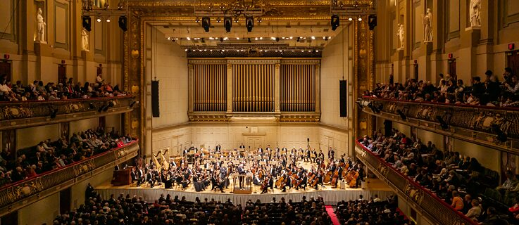The Boston Symphony Orchestra and the Leipzig Gewandhaus Orchestra performed a joint program of Strauss, Haydn, Schönberg and Scriabin at  Symphony Hall