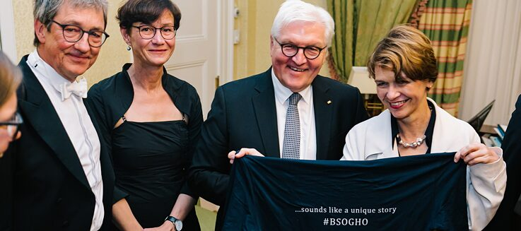 President Frank-Walter Steinmeier with Elke Büdenbender with members of the Boston Symphony Orchestra and Leipzig Gewandhaus Orchestra