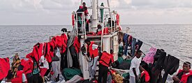 "Refugees rescued off the coast of Libya on the ""Eleonore"" rescue ship."