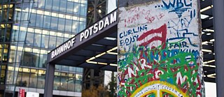 A section of Berlin Wall at Potsdamer Platz in Berlin