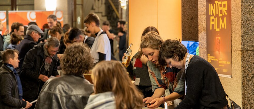 Cinemagoers queue for tickets at this year's interfilm Berlin festival