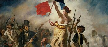 "Marianne, the national figure of the French Republic leading her people: ""La Liberté guidant le people"" by French painter Eugène Delacroix from 1830 is on display in the Louvre."