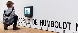 "José Alejandro Restrepos work ""The crocodile of Humboldt is not the crocodile of Hegel"" in the exhibition ""The Nature of Things"", Humboldt Forum Berlin, 2019"