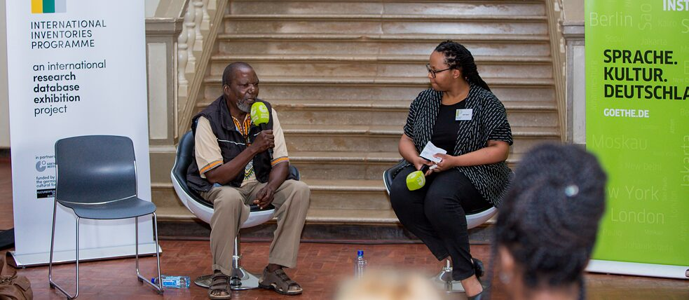 Njoki Ngumi (The Nest Collective) in conversation with Jimbi Katana (left) about the role of local communities in the restitution debate