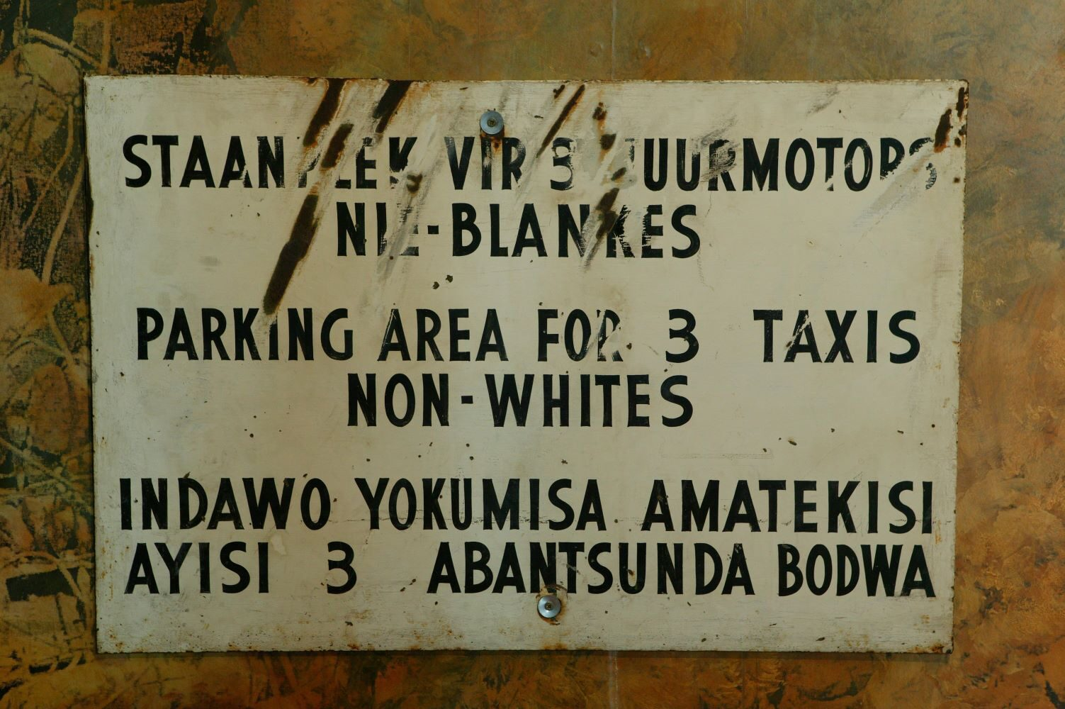 Even parking areas were used in accordance with racial segregation during apartheid in South Africa