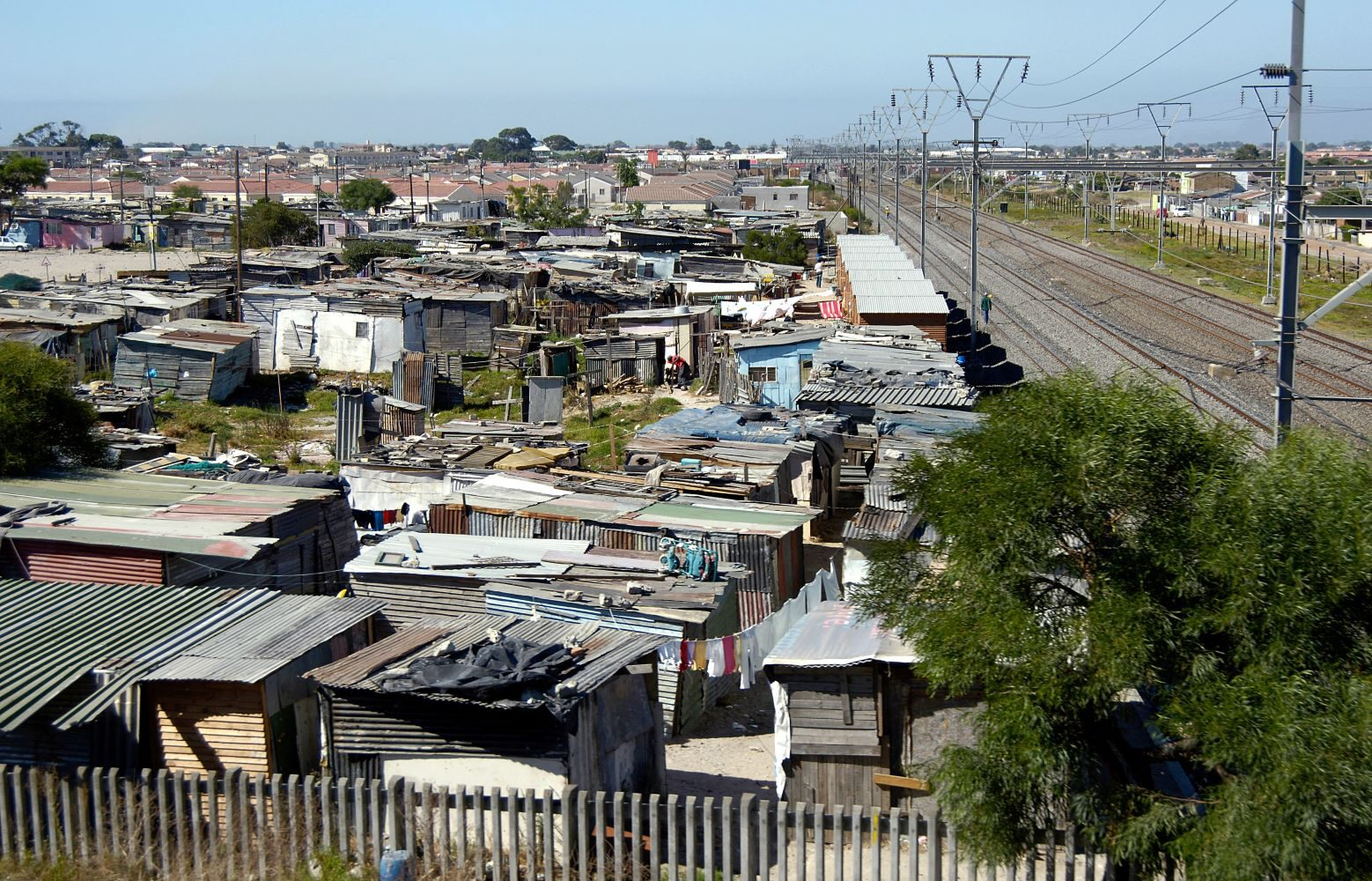 View of poor huts of Khayelitsha Township, one of the many black settlements in South Africa. Even after the official end of apartheid in 1990, most of South Africa's black population still lives in townships.