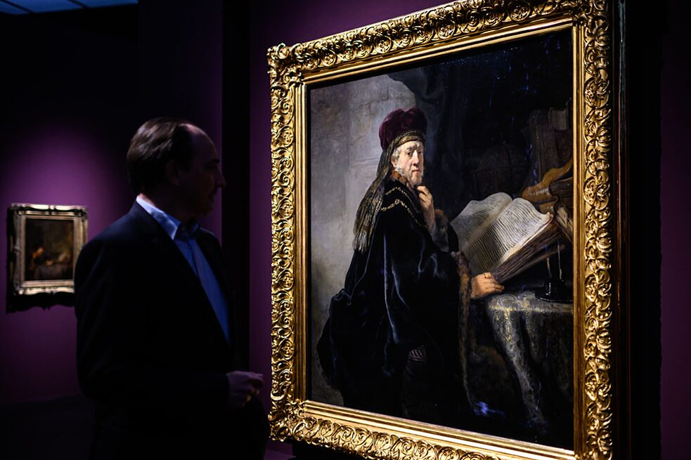 "Rembrandt's ""Scholar in his Study"" is on loan from the National Gallery in Prague, only the second time it has been on display in another country."