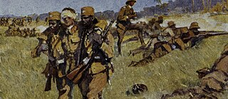 Ascari faithfulness in German East Africa. (German Schutztruppen with native teams in the defense against an attack). Picture postcard after watercolour, 1918, by Fritz Grotemeyer