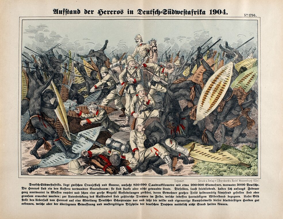 Wood engraving Deutsch-Suedwestafrika, Herero Uprising 1904/5 - 'Uprising of the Hereros in Deutsch-Suedwestafrika 1904'. - Lithograph, colored.
