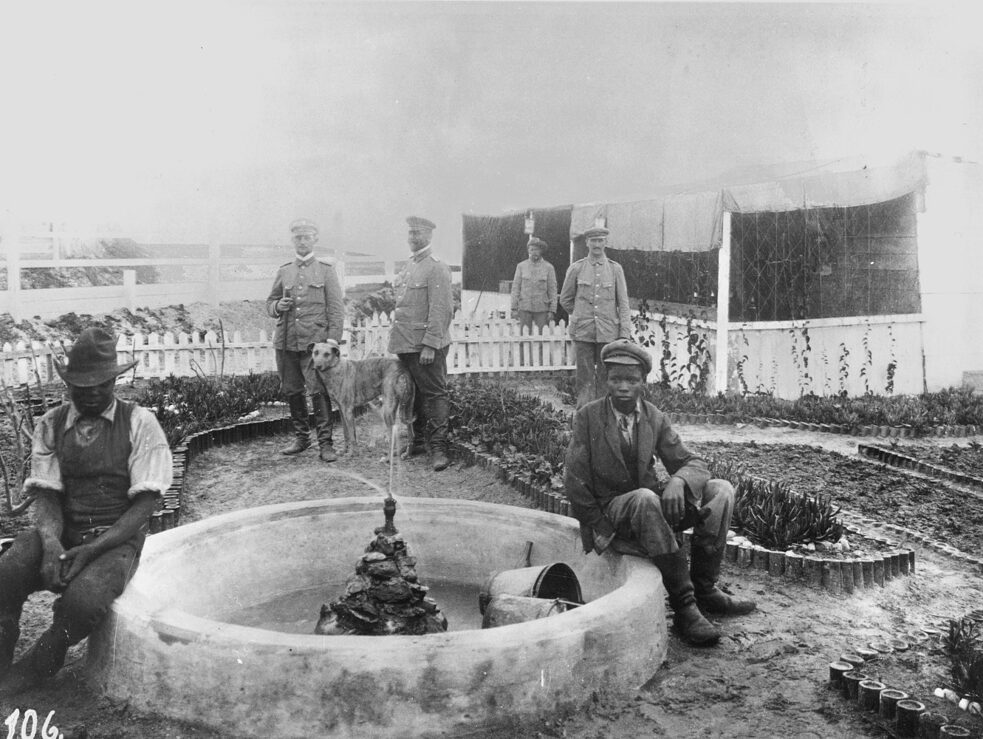 Soldiers' vegetable garden in German Southwest Africa, 1905/06, planted by black relief workers