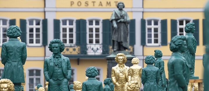 Ludwig Beethoven surrounded by 700 doubles: this art instillation was set up in honour of the composer's 250th birthday.