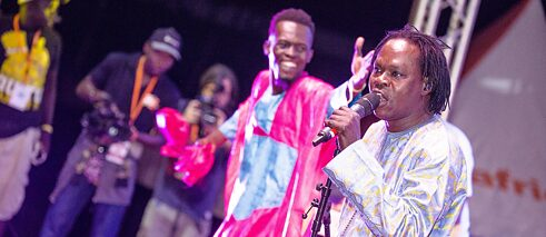 The Senegalese singer Baaba Maal performs.