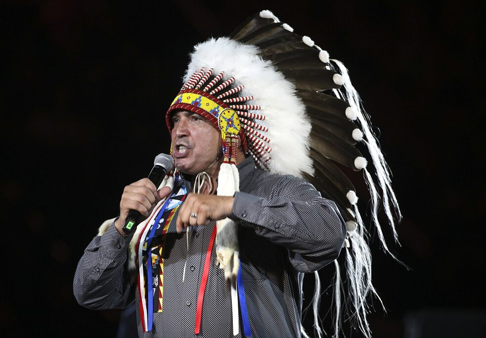 First Nations leader Perry Bellegarde during a speech in 2017 The Assembly of First Nations is an organization of indigenous peoples in Canada whose goal is to enforce the rights and demands of more than 600 First Nations. These include all indigenous peoples in Canada, with the exception of the Métis and the Inuits.