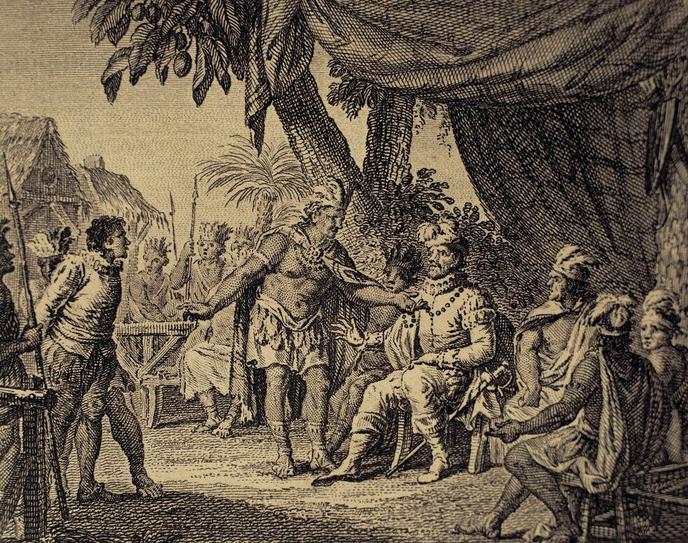 Canada (New France). 17th century. Congress of peace between some Indian nations of Canada, chaired by a French governor and an Iroquois, representative on a confederation of six American Indian tribes inhabiting northern New York and Canada. During the conference, the Indians returns a French prisoner. Engraving, 1807.