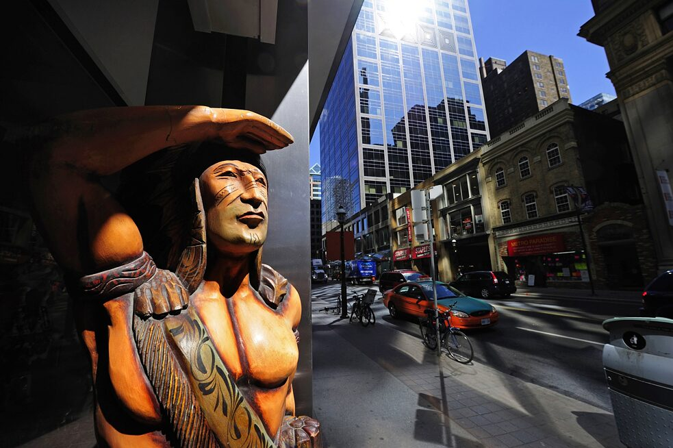 carved Indian figure in Yonge Street in Toronto, Canada