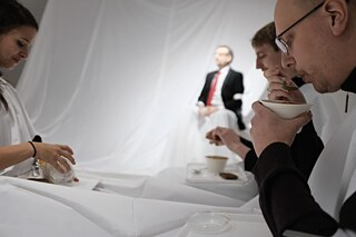 Participants in a Dining Room Tales performance in Helsinki