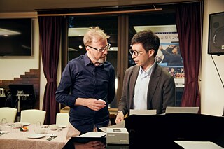 Dining Room Tales founder Xan Colman with pianist Yoshio Hamano in Yokohama