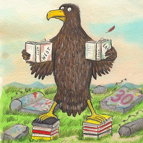 "Front image of the ""German Riveter"": A drawing of an eagle (which is Germany's heraldic animal) holding a book in each hand, one saying ""West"", the other ""East""."
