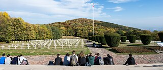 French national cemetery for the fallen soldiers at Hartmannswillerkopf, a main scene of the Franco-German mountain war in World War I, where soldiers from the colonies of Germany and France also had to fight and lose their lives. The French alone sent 450,000 Africans to the front against Germany.
